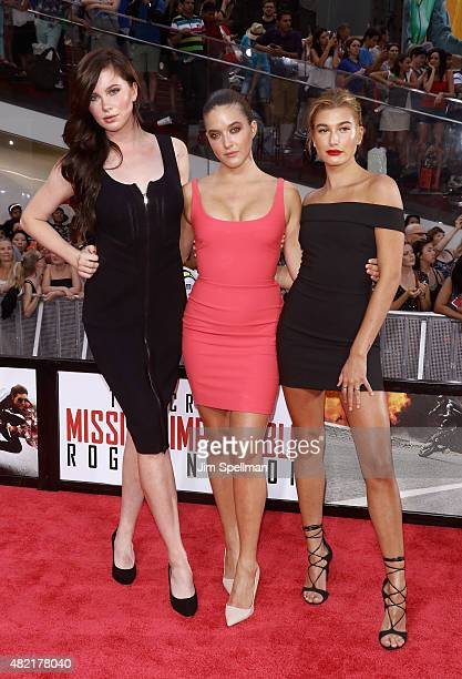 Ireland Baldwin Alaia Baldwin and Hailey Rhode Baldwin attend the 'Mission Impossible Rogue Nation' New York premiere at Times Square on July 27 2015...
