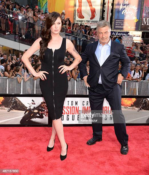 Ireland Baldwin and Alec Baldwin attend the New York premiere of 'Mission Impossible Rogue Nation' at Times Square on July 27 2015 in New York City