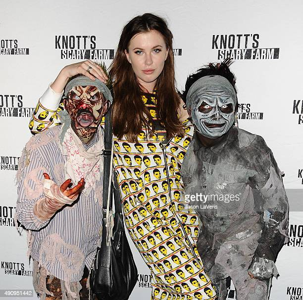 Ireland Baldwin attends the Knott's Scary Farm black carpet at Knott's Berry Farm on October 1 2015 in Buena Park California