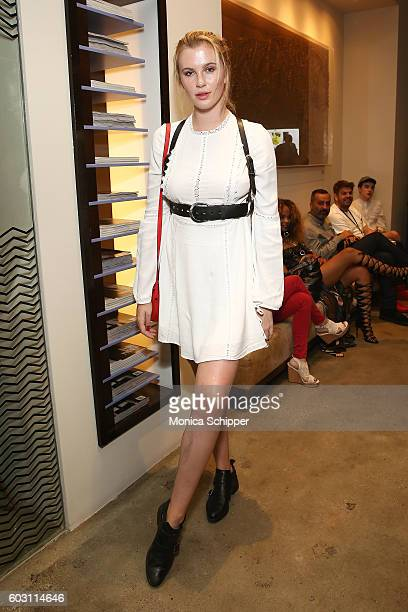 Ireland Baldwin poses for a photo backstage at The Blonds fashion show during MADE Fashion Week September 2016 at Milk Studios on September 11 2016...