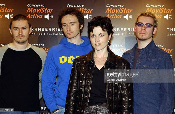 Ireland band The Cranberries attend a promotion for their tour and new album 'Wake Up And Smell The Coffee' November 27 2001 in Madrid Spain