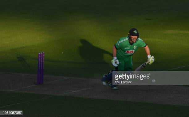 Ireland batsman Paul Stirling in batting action during the Third One Day International between England and Ireland in the Royal London Series at The...