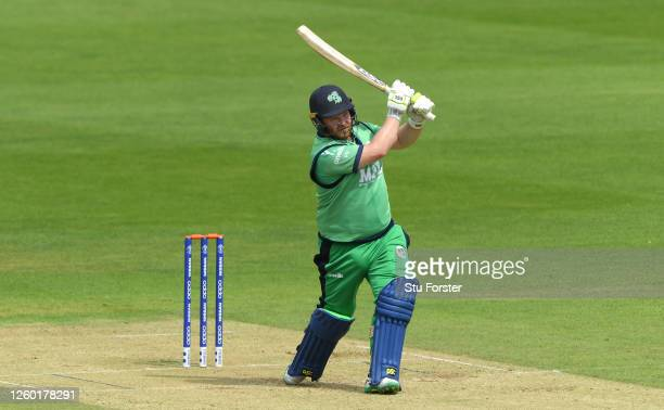 Ireland batsman Paul Stirling in batting action during the warm up game between England Lions and Ireland at Ageas Bowl on July 26, 2020 in...