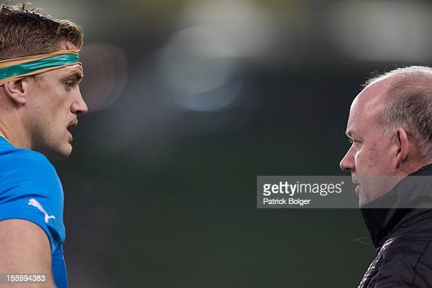 Ireland captain Jamie Heaslip and coach Declan Kidney look on during the International rugby match between Ireland and South Africa in the Aviva...