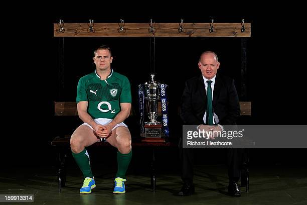 Ireland captain Jamie Heaslip and Declan Kidney the Ireland head coach pose with the Six Nations trophy during the RBS Six Nations launch at The...