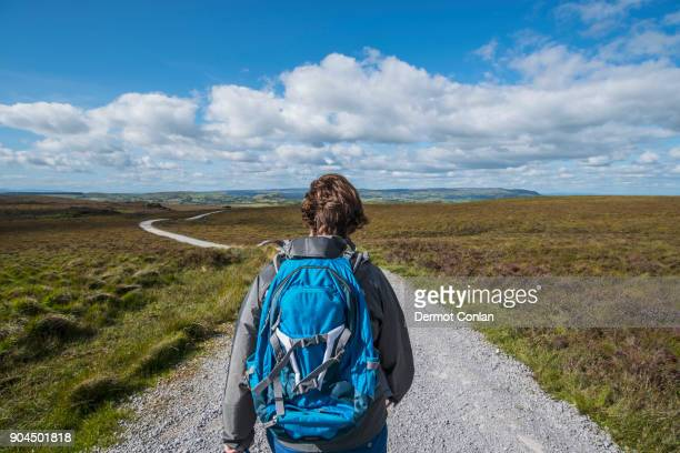 ireland, cavan county, cuilcagh mountain park, woman hiking along road - cavan images foto e immagini stock