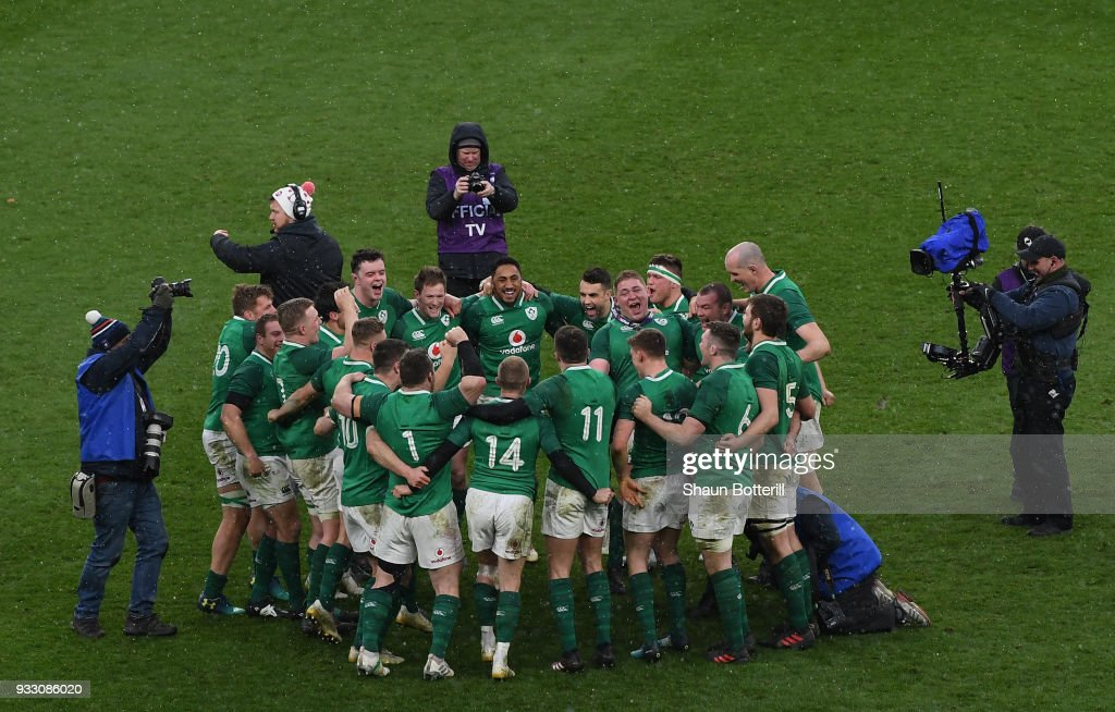 Ireland celebrate after winning the NatWest Six Nations match between England and Ireland at Twickenham Stadium on March 17, 2018 in London, England.