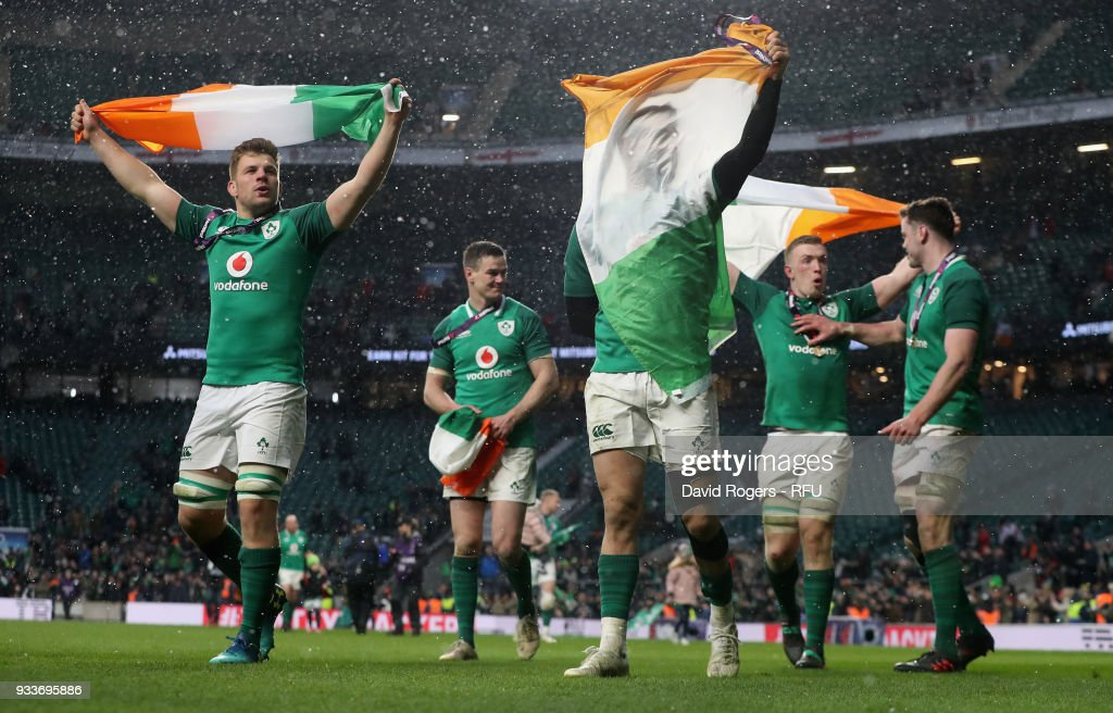 Ireland celebrate their Grand Slam victory during the NatWest Six Nations match between England and Ireland at Twickenham Stadium on March 17, 2018 in London, England.