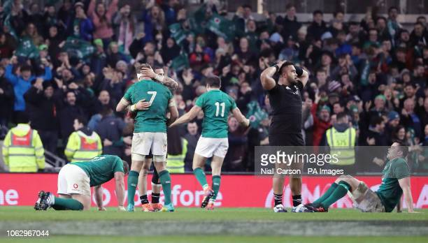 Ireland celebrate their win against the All Blacks in the Autumn International match at the Aviva Stadium Dublin