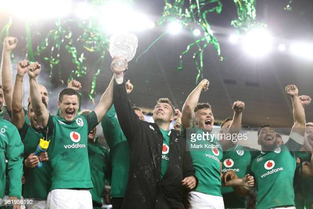 Ireland celebrate victory after winning the series and the Third International Test match between the Australian Wallabies and Ireland at Allianz...