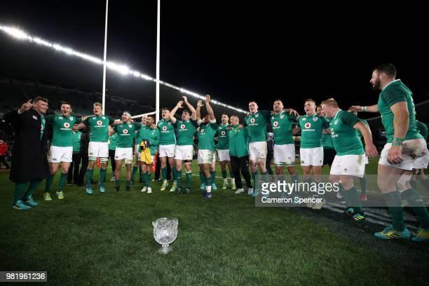Ireland celebrate winning the Third International Test match between the Australian Wallabies and Ireland at Allianz Stadium on June 23 2018 in...
