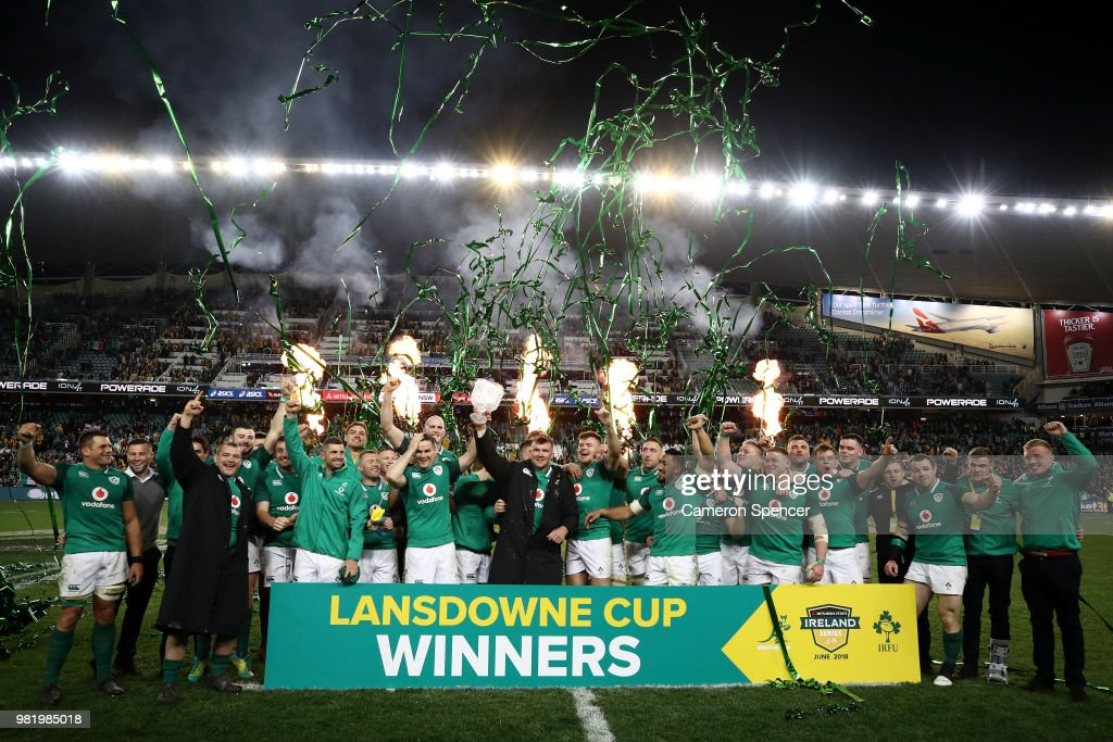 Ireland celebrate winning the Third International Test match between the Australian Wallabies and Ireland at Allianz Stadium on June 23, 2018 in Sydney, Australia.