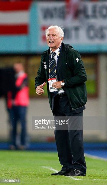 Ireland coach Giovanni Trapattoni reacts during the FIFA World Cup 2014 Group C qualification match between Austria and the Republic of Ireland at...
