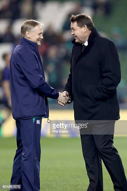 Ireland coach Joe Schmidt and All Black coach Steve Hansen speak before the international rugby match between Ireland and the New Zealand All Blacks...