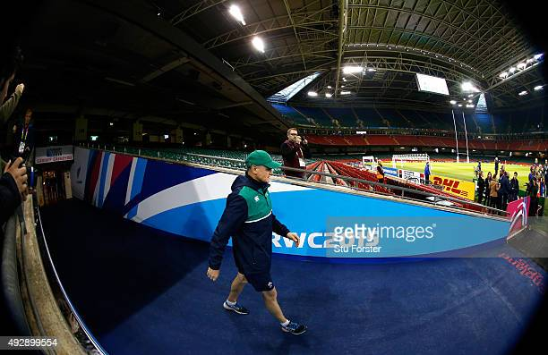 Ireland coach Joe Schmidt enters the field during Ireland training at the Millennium Stadium on October 16 2015 in Cardiff Wales