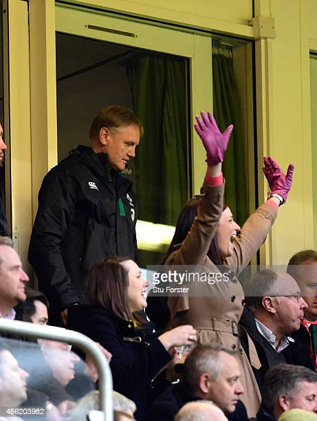 Ireland coach Joe Schmidt looks on as Wales fans celebrate on the final whistle after the RBS Six Nations match between Wales and Ireland at...