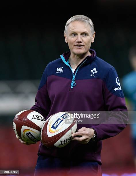 Ireland coach Joe Schmidt looks on during Ireland captain's run ahead of their RBS Six Nations match against Wales at Principality Stadium on March 9...