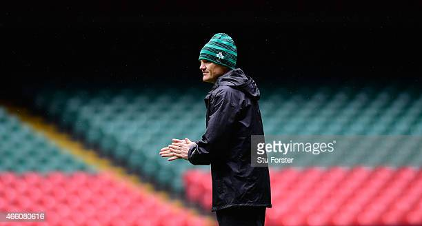 Ireland coach Joe Schmidt looks on during training ahead of tomorrow's RBS Six Nations match against Wales at Millennium Stadium on March 13 2015 in...