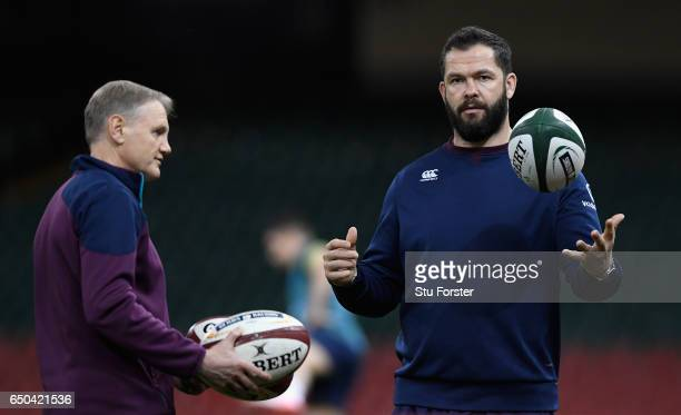 Ireland coach Joe Schmidt with his defence coach Andy Farrell during Ireland captain's run ahead of their RBS Six Nations match against Wales at...