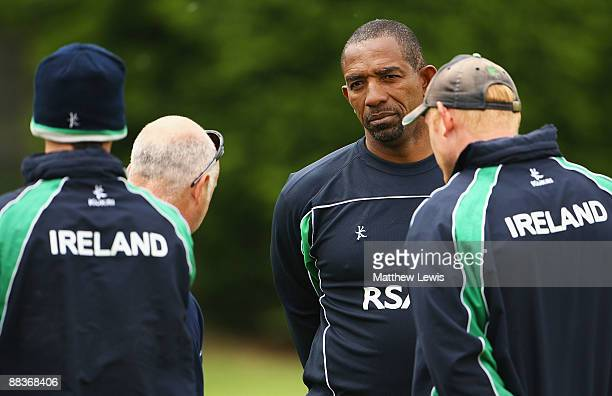 Ireland coach Phil Simmons looks on during a nets session at Lady Bay Cricket Club on June 9 2009 in Nottingham England