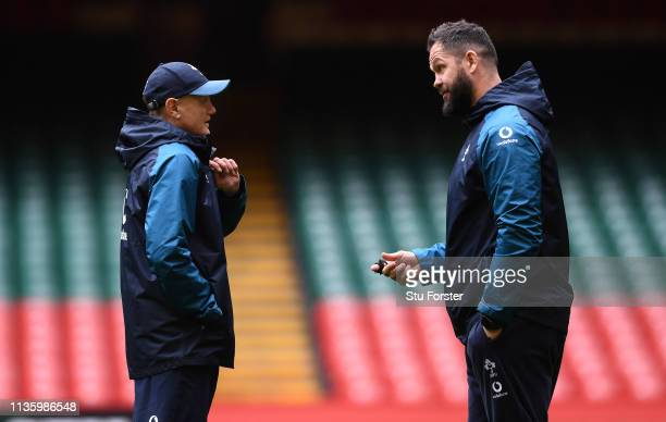 Ireland coaches Joe Schmidt and Andy Farrell chat during Wales training ahead of the Guinness Six Nations match against Ireland at Millennium Stadium...