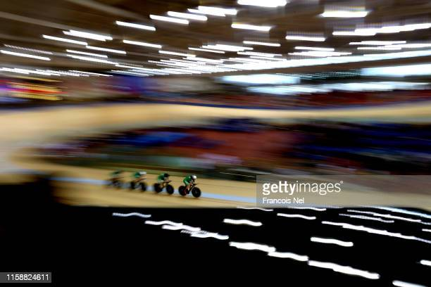 Ireland competes in the Women's Team Pursuit during day eight of the 2nd European Games at the Minsk Arena Velodrome on June 28 2019 in Minsk Belarus