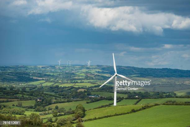 Ireland, County Cavan, Landscape with wind turbines