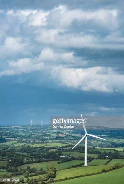 ireland, county cavan, landscape with wind turbines - county cavan stock photos and pictures