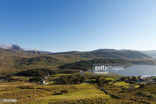 Ireland, County Donegal, View of Dunlewey Lough and Derryveagh Mountains