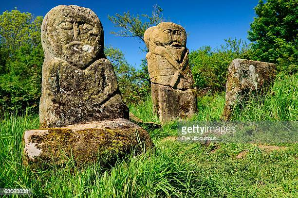 Ireland County Fermanagh Boa Island Carved stone pagan figures that stand in Caldragh cemetery