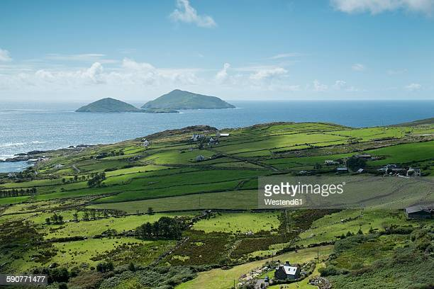 ireland, county kerry, view from ring of kerry to atlantic coast - ring of kerry stock photos and pictures