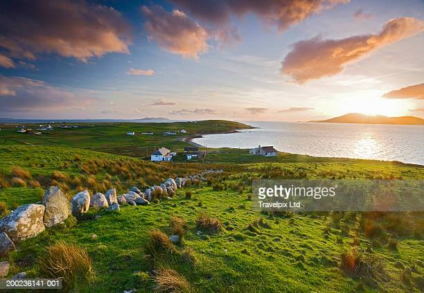 ireland, county mayo, clare island, sunset - ireland stock pictures, royalty-free photos & images