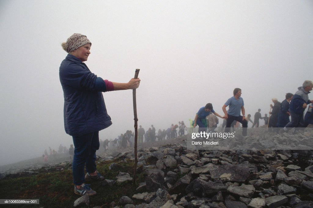 Ireland, County Mayo, pilgrims at Craogh Patrick : News Photo