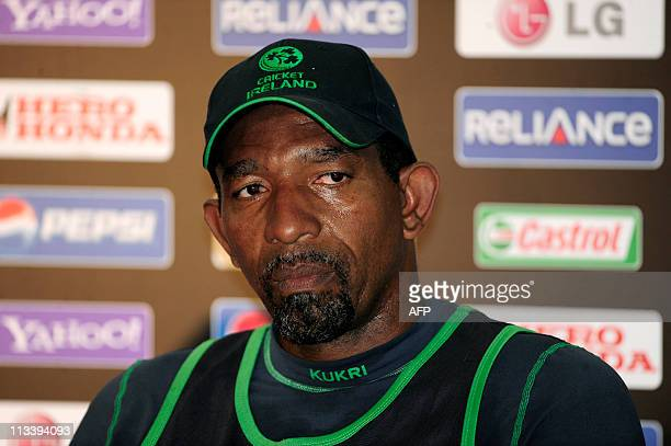 Ireland cricket coach Phil Simmons addresses a press conference at The Shere Bangla National Stadium in Dhaka on February 24 after a team training...