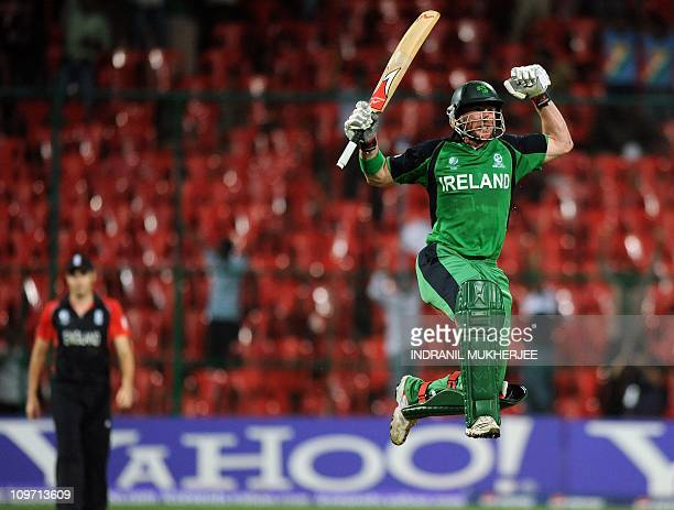 Ireland cricketer John Mooney celebrate after scoring the winning runs in The ICC Cricket World Cup 2011 match between England and Ireland at The M...