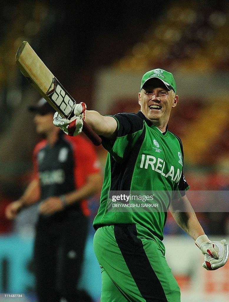 Ireland cricketer Kevin O'Brien celebrat : News Photo