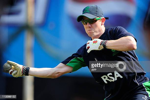 Ireland cricketer Niall O'Brien throws a ball during a practice session at The Shere Bangla National Stadium in Dhaka on February 23 2011 Ireland...