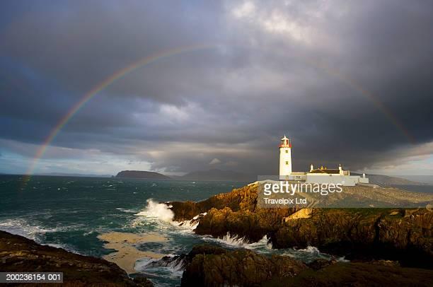 Ireland, Donegal, rainbow over Fanad Head Lighthouse