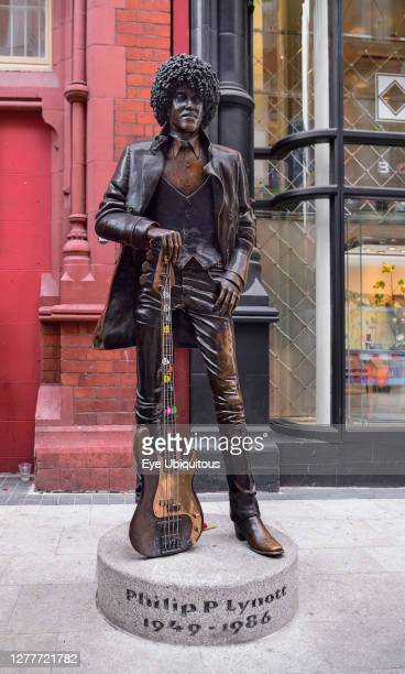 Ireland, Dublin, Statue of the late Philip Lynott former frontman of the Irish rock group Thin Lizzy.