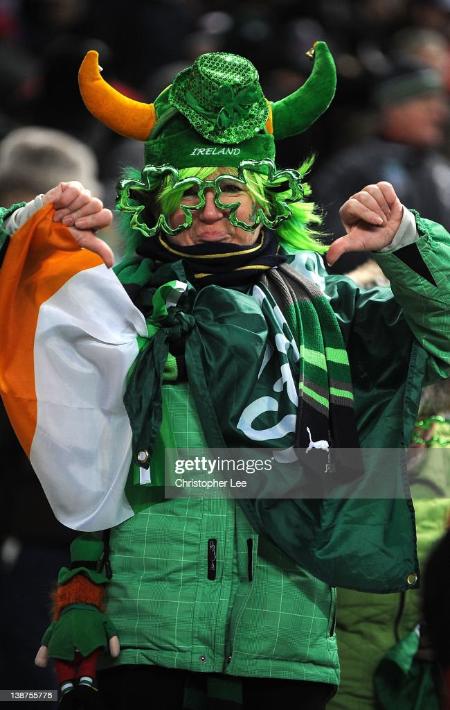 A Ireland fan gives the decision to cancel the match a thumbs down after the match is cancelled just before kick off during the RBS 6 Nations match between France and Ireland at Stade de France on February 11, 2012 in Paris, France.