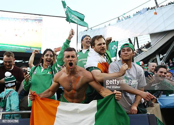Ireland fans celebrate their team's 4029 victory during the international match between Ireland and New Zealand at Soldier Field on November 5 2016...