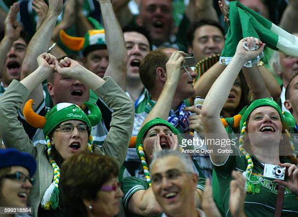 Ireland fans during the IRB World Cup rugby match between France and Ireland. FOR NON-EDITORIAL USE, ADDITIONAL THIRD PARTY CLEARANCES MAY BE...