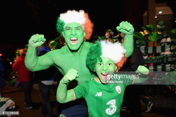 Ireland fans enjoy the atmosphere prior to the FIFA 2018 World Cup Qualifier PlayOff Second Leg between Republic of Ireland and Denmark at Aviva...