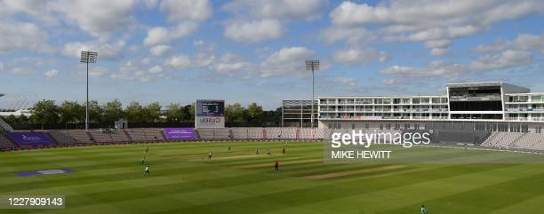 Ireland field in the sunshine inside the empty ground during the third One Day International cricket match between England and Ireland at the Ageas...