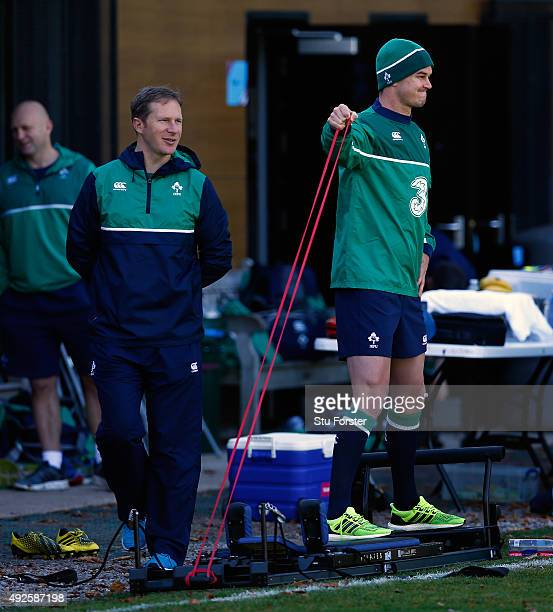 Ireland fly half Jonathan Sexton does some light exercise during Ireland training at Sophia Gardens on October 14 2015 in Cardiff Wales