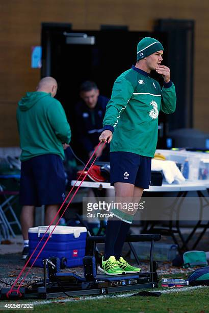 Ireland fly half Jonathan Sexton does some light exercise during Ireland training at Sophia Gardens on October 14, 2015 in Cardiff, Wales.