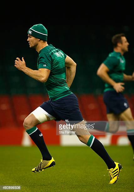 Ireland fly half Jonathan Sexton in action during Ireland training at the Millennium Stadium on October 16 2015 in Cardiff Wales