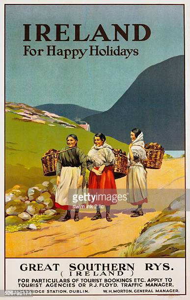 Ireland for Happy Holidays Great Southern Railways Advertisement Poster by Walter Till