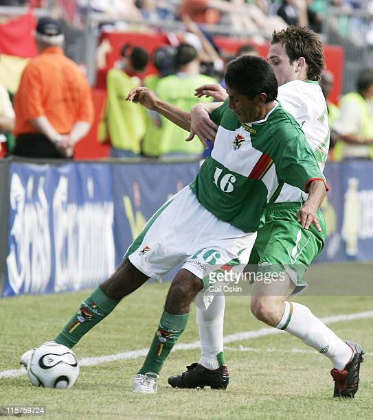 Ireland forward Anthony Stokes and Bolivia midfielder Leonel Reyes fight for the ball in this international friendly match, Saturday, May 26, 2007 at...