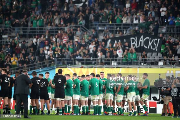 Ireland give New Zealand a guard of honor following the Rugby World Cup 2019 Quarter Final match between New Zealand and Ireland at the Tokyo Stadium...